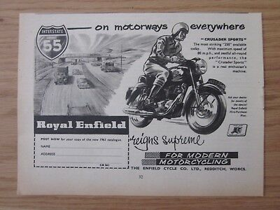 ROYAL ENFIELD Motor Cycle - Original Magazine Advert from 1961