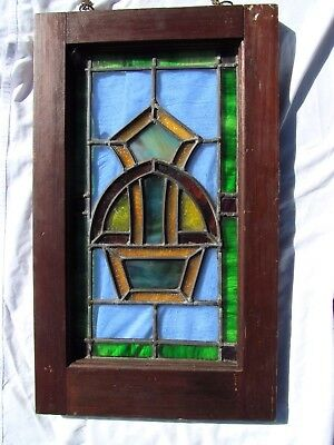 Nice Vibrant Antique Arts n Crafts Era Leaded Stained Glass Window Great Size