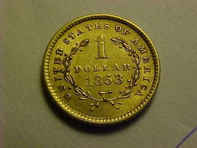 1853 Type 1,   $1 LIBERTY  Gold Dollar High Grade AU Nice Attractive Gold Coin