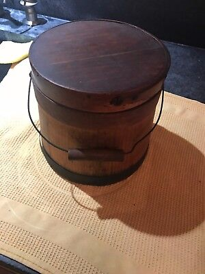 Antique Primitive Small Wood Sugar Firkin Bucket with Lid and finger straps