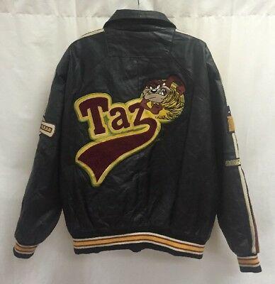 Vintage Classic Looney Tunes Collection Taz World Order Leather Jacket Size 3XL