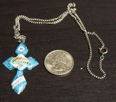 """Vintage Antique Silver Persian Metal CROSS Hand Painted Pendant 16"""" Chain  A48"""