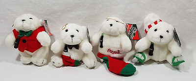 Set of 4 Coca Cola Plush Polar Bear Ornaments Holding Coke Bottle 1995 NEW