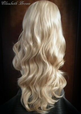 Blonde Mix Layered Long Curly 3/4 Fall Wig  Half Wig 099