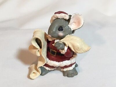 Merry Mousetales Santa mouse checking Christmas list. Midwest Cannon Falls 1993
