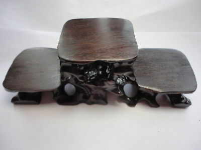 "CHINESE BLACK HARDWOOD NICE CARVED BONSAI POT/VASE STAND 150mm 5.9"" 3 layer U B"