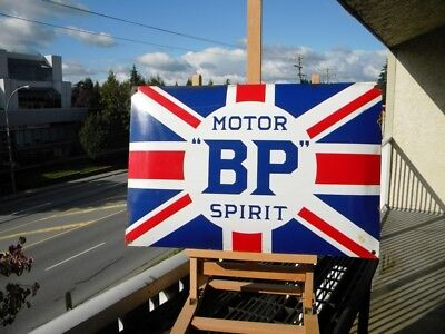 "Bp Motor Spirit Big Old Porcelain Sign ~23-1/2"" Gas Station Oil Pump Advertising"
