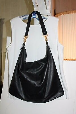 Black Leather Tote/Shopping Bag, Pre-owned