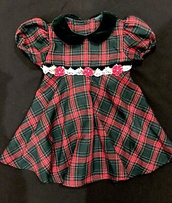 Bonnie Jean Green and Red Plaid Holiday Christmas Dress. Size 2T.