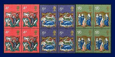 1970 SG838-840 4d-1s6d Christmas Set Blocks of 4 MNH aigc