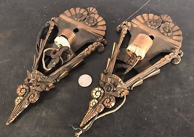 Pair antique vtg Art Deco solid bronze slipper slip shade light fixture sconces