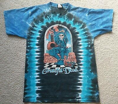 VTG Grateful Dead Liquid Blue 2004 Tie Dye Shirt Size Medium Skull Kelley Mouse