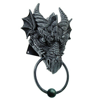 Gothic Fantasy DRAGON HEAD DOOR KNOCKER Superb Detail Faux Stone 9.25""