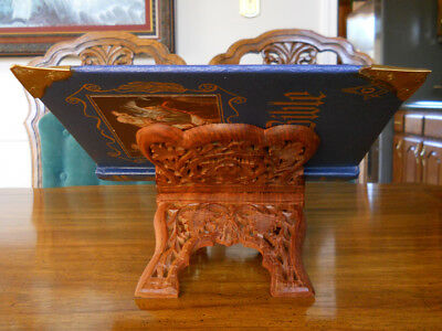 Vintage Rosewood Book/Bible/Cookbook Stand - hand carved - folding - NEW