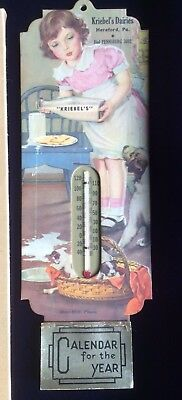 Exclnt Vintage Advertising 1940 KRIEBEL'S DAIRY Thermometer Calendar Hereford Pa