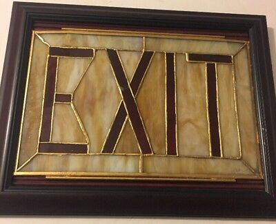 Vintage Art Deco Theater Stained Leaded Slag Glass Exit Sign