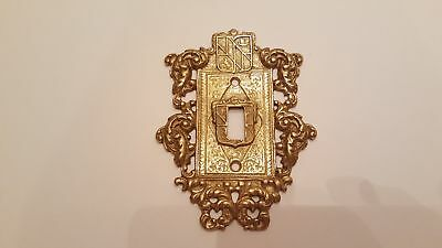 Vintage Virginia Metalcrafters Ornamental Solid Brass Single Wall Switch Plate (