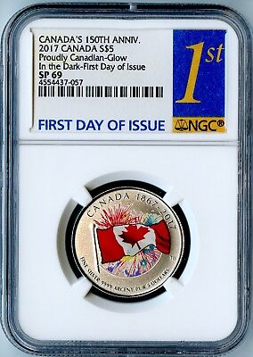 "2017 Canada Ngc First Day Of Issue Sp69 ""proudly Canadian"" Glow In The Dark S$5!"