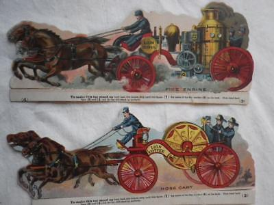 Vintage Lion Coffee Horse Drawn Fire Engine and Hose Cart Trade Cards