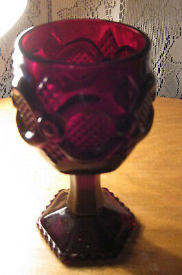 """Vintage 4"""" Avon 1876 Cape Cod Collection Ruby Red Wine Goblet"""