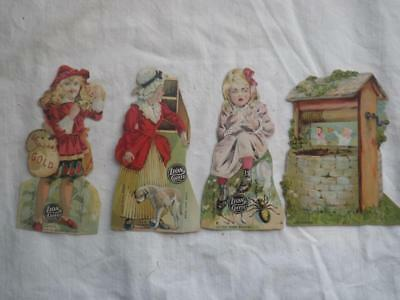 4 Vintage Lion Coffee Die Cut Trade Cards - Fairy Tale Characters