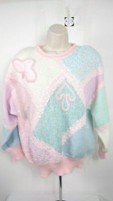 Jaclyn Smith Vintage 90's Pastel Knit Sweater Women's Medium Pearl Beads Sequin