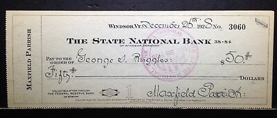 1928 MAXFIELD PARRISH Handwritten & Signed Check to friend/model George Ruggles
