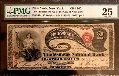 1865 Original $2 Lazy Deuce *new York* *very Very Rare* Retails For $5,000 Wow!!