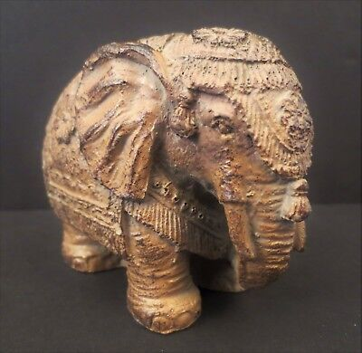 """Brown Asia Carved Elephant w/ Headdress 3.75"""" L x 3"""" H ~ 1 lb VGC Textured Resin"""