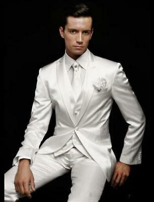 New White Men's Wedding Suits Groom Tuxedos Formal Business Party Dinner H7546