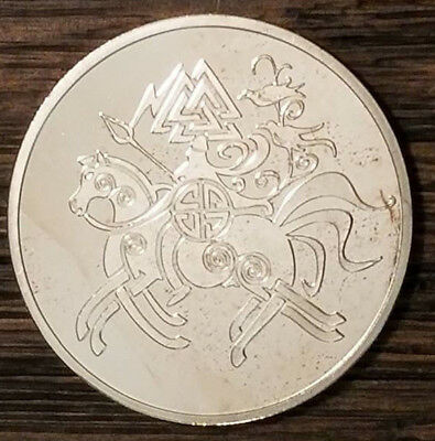 VALHALLA THOR HAMMER Coin Horse Good Luck SILVER plated Runes Runic Pagan