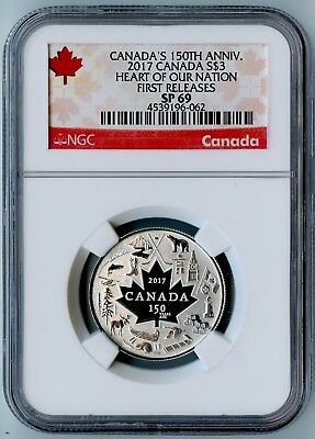 2017 Canada Ngc First Releases Sp69 Silver Heart Of Our Nation S$3!