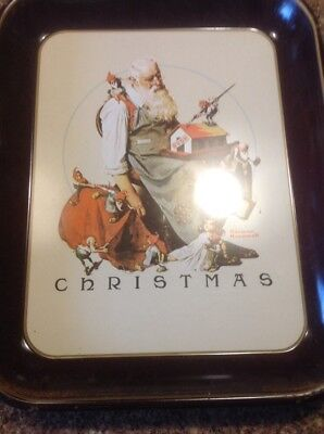 Vintage Norman Rockwell Christmas 1975 First Limited Edition Tin Tray