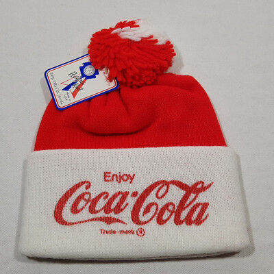 Coca Cola Red White Winter Hat With Pom Pom One Size NEW