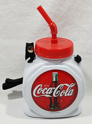 """Coca Cola Plastic Drinking Container with Straw Round Bottle Cap Shape 5"""" NEW"""