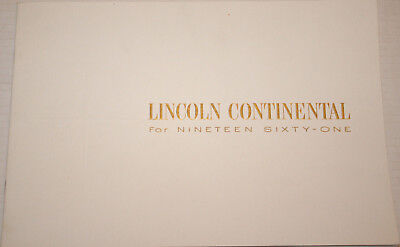 1961 LINCOLN CONTINENTAL Full Line saver  24 page ORIGINAL sales Brochure
