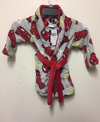 Disney's Cars Lightning McQueen Toddler Boy Plush Bath Robe NWT Size 2T Red