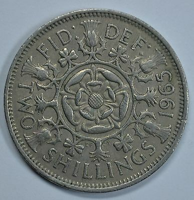 1965 Great Britain two shillings coin Florin  Ships free