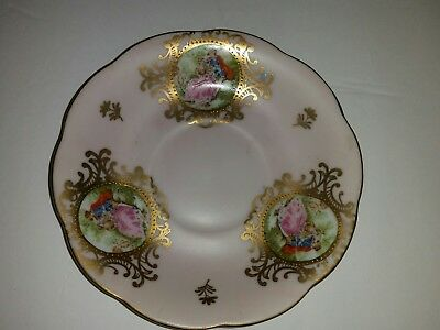 Vintage Hand Painted Lefton China Decorative Plate Small Saucer Pink & Gold