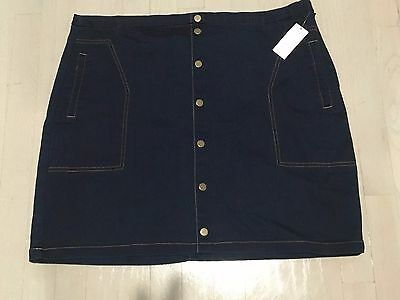 Metaphor women's skirt blue jeans denim stretch  sexy snap front  sz 16 nwt $38