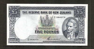 NEW ZEALAND P-160b 5 Pound 1955 Banknote (G Wilson) EF