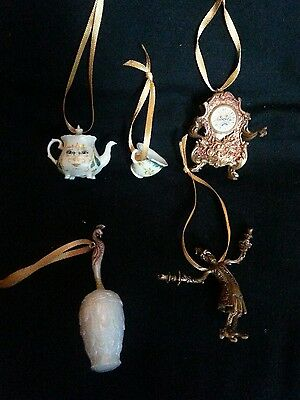 Disney Beauty and the Beast Christmas Ornament set of 5- Gold Lumiere Mrs Potts