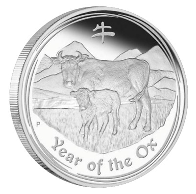 2009 2 oz Silver Perth Mint Lunar Year of the OX Coin