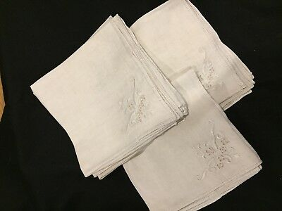 12 beautiful, vintage, embroidered , linen napkins 1920-30's