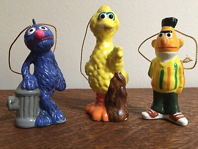 3 Vintage 1977 Gorham SESAME STREET ORNAMENT SET Lot BIG BIRD, GROVER & BERT