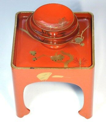 Japanese Vintage 3 Sake Cup & Stand Lacquer Ware Wood Red Pine Bamboo Plum Makie