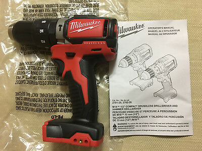 """Brand New Milwaukee M18 2702-20 Brushless 1/2"""" Compact Hammer Drill/Driver Only"""