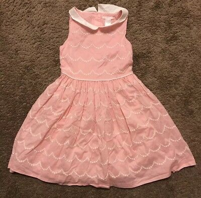 Janie and Jack 100% Cotton Pink White Embroidered Sleeveless Full Collared Dress