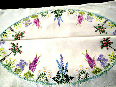 """Glorious Standard Rose/Flower Circle ~ Vintage Hand Embroidered Tablecloth 33""""sq"""