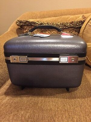 Vintage American Tourister Cosmetic Vanity Carry On Train-Airline Case Blue/Gray